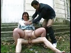 Dirty public threesome outdoor