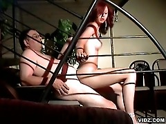 Redhead slut encounters experience from nasty old chub