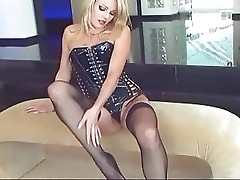 Fingering in stockings and corset