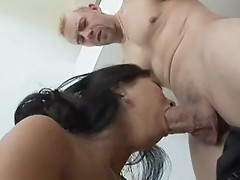 Muscled guy gets bj & coochie of a cute Asian slut