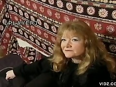 Mature horny slut takes on two well hung guys