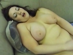 Megaboobed whore enjoys her time alone