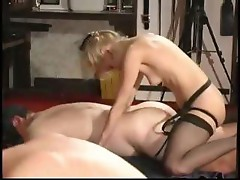 Extreme mature babe ass fucking and forcing her slave to drink his cum