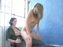 Roxanne Hall gets a strap on fuck from a prison guard