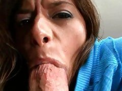 Hottie Madelyn Marie filling her sexy mouth with a load of hard dick