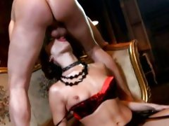 Stunning Dana DeArmond get her throat stuffed with cock