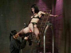 Asphyxia hang on a metal grill and have dildo hard