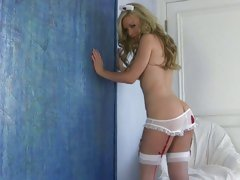 Slinky and fair Kayden Kross displays herself for you in her undies. Special!