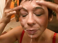 Aarielle Alexis let a thick whitish cum flow on face