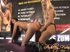 Slutty Ashley Fires fucks her hot friend's pussy from behind with a strap-on
