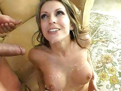 The luscious tits of Courtney Cummz get covered with a load of warm cum.