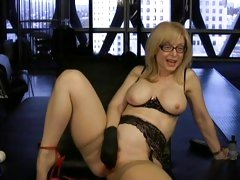 Blistering Nina Hartley fingers her dripping pussy hole