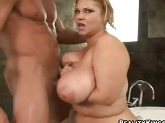Samantha 38G gets a cock shoved between her boobs and titty fucked violently