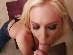 Victoria White blonde chick get punked in the mouth