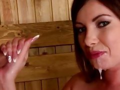 Sumptuous Donna Bell gets showered in hot dick juice