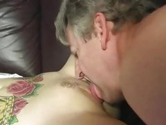 Naughty Candy Monroe has her cuckold clean up the cum