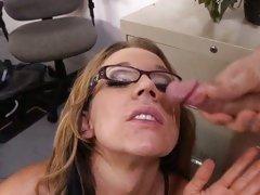 Tempting teacher Nikki Sexxx is facialled at school