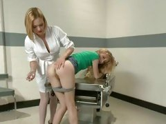Nasty nurse Krissy Lynn plugs a blonde's hot ass