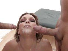 Thirsty Courtney Cummz gets splattered in cock cream