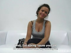 Czech Casting Monika talking dirty and sucking cock