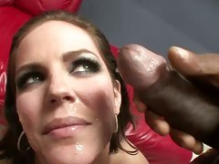 Sensual Bobbi Starr gets her face plastered with cum