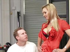 Sexy MILF Tanya Tate seduces this dude with her tits