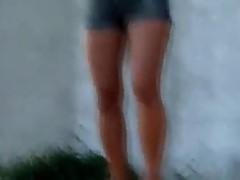 Gf enjoying outdoors stripping her thong outdoor