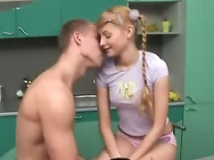 Insatiable blonde virgin squirms on a stiff dick
