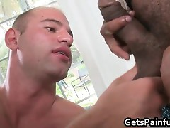 Muscled dude riding some fat black dick