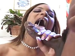 Raunchy blacksome floozy Marie Luv gags on blacK Wang then fills her Nasty hot twat