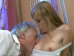 Old guy loves to bend this young babe over and get her panties off when her boyfriend isn't around