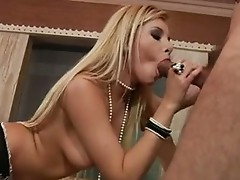 Nasty nob gobbler Donna Bell likes getting her wet Moist throat stuffed with c