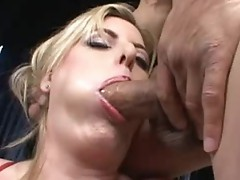 Breasty Blonde offers blowjob