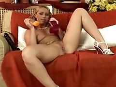 Kathia Nobili Blonde contented sucking two dildos