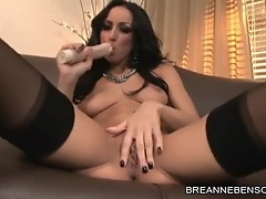 Breanne Benson pulling her panty deep to her cum-hole