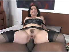 Sexually excited MeLissa Monet bounces her slit on a huge prick