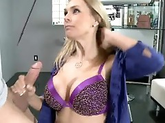 Tanya Tate is squeezing this guyr lover's shaft constricted with this chabr Meaty boobies