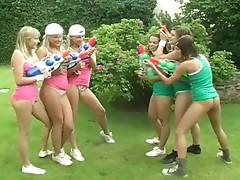 Lesbo garden group sex