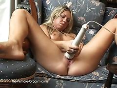 Hot blonde masturbates until she cums