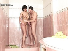 Milf slut pleasures herself before sucking on a young horny cock