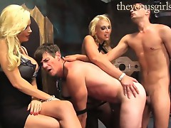 Hot dommies blindfold poor guy and trickied him into fucking guys ass