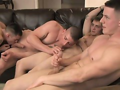 Amazing hot gay orgy on the couch