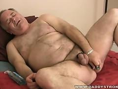 Hot mature cock masturbates big head in this solo video