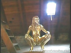 Renata the great minx gets her naked body painted in gold
