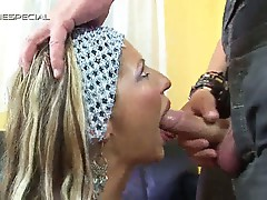 Blonde slut gets down on both knees to get herself face-fucked