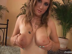 Blonde slut with huge titties fucking hard with sweet boner