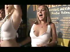 Horny young girls dancing, drinking and showing their boobs !