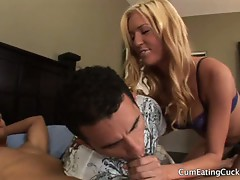 Victoria white and cucksucking husband sucking a big dick