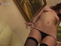 Bitchy brunette hustler in stockings steamy solo pussy teasing