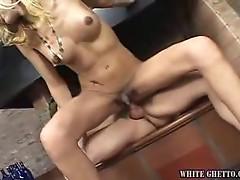 Nasty tranny with tiny dick for horny hunk fucker
